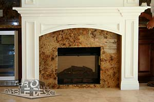 marble fireplace with crown molding